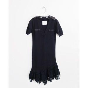 Sacai Black Cotton Knit Lace Flare Trim Dress 2 S